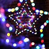 12 Inch Christmas Window Star Lights with Battery Operated Xmas Curtain Lights Holiday Party Curtain Lights Led Star Window Lights for Wedding Outdoor Bedroom Window Decor (Colorful)