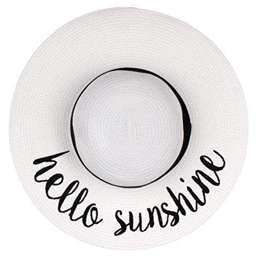 BYSUMMER Women's Sun & Beach Floppy Hat with Embroidered Cursive Phrase (Hello Sunshine (White))