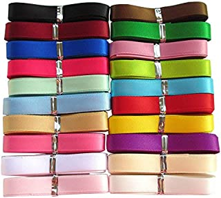 Chenkou Craft Lot de 20couleurs assorties de ruban non réversible en polyester 18,3mx 10mm