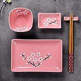 Panbado Porzellan Japanisch Sushi 10-teilig Set, Rechteckig Sushi Teller mit Reisschalen, Dipschälchen, Bambus Essstäbchen und Essstäbchen Ablage für 2 Personen, Sakura Muster, Rosa - 3