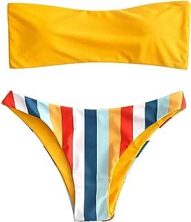 Women's Rainbow Striped Bandeau Bikini Set Strapless High Cut Two Piece Swimsuit