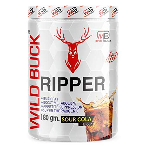 M B Muscle Builder's RIPPER 100% Gluten Free, Metabolism Booster, Stimulant Free Fat Burner | Ripper Weight Loss Supplement (Sour Cola, 180gm)