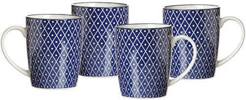 Ritzenhoff & Breker Kaffeebecher-Set Royal Reiko, 4-teilig, 350 ml, Porzellangeschirr, Blau-Weiß