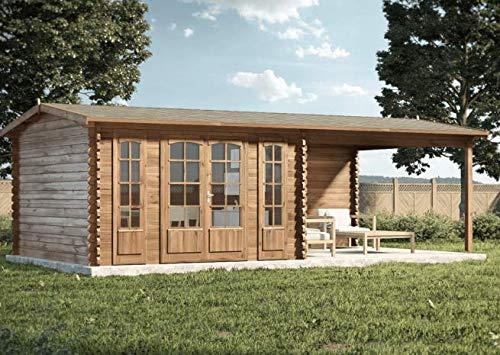 Alpholz Gartenhaus Freiburg-44 aus Massiv-Holz | Gerätehaus mit 44 mm Wandstärke | Garten Holzhaus inklusive Montagematerial | Geräteschuppen Größe: 755 x 399 cm | Satteldach