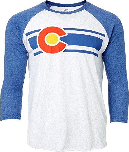 Colorado Limited Herren Heather Weiß Colorado Baseball Sleeve Shirt (S, Blau/weiß)