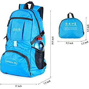 Outdoor 35L Sport waterproof Lightweight Packable backpack Durable folding Travel Hiking Trekking Camping Cycling Foldable backpack Ultralight Daypack collapsible Backpack (Light Blue)