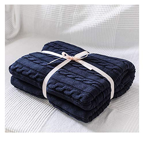 Súper Suave Cálida Manta de Punto Gruesa Cobertura para sofá Cama de Silla Decorativa Navy 110 * 180cm