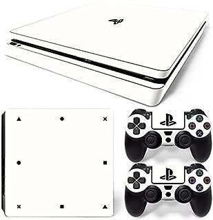PS4 Slim Skin Decal Sticker White Edition Custom Design + 2 Controller Skins Set