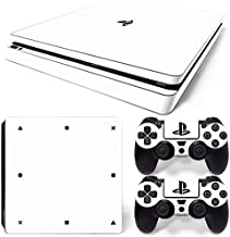 PS4 Slim Skin Decal Sticker White Edition Custom Design + 2 Controller Skins Set