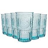 Bormioli Rocco Romantic - Juego de Vasos Altos para cócteles - Diseño Italiano Tradicional - Azul - 340ml - Pack de 6