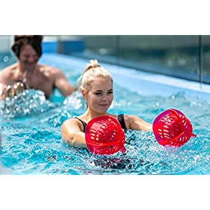 AquaLogix Medium Resistance All-Purpose Aquatic Bell Set - Pink - Upper Body Pool Exercise Dumbbells - Includes Link to Demonstration Video and Workout (Bells Pair MRPCBELL_Pink)