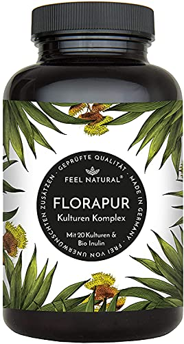 Florapur Kulturen Komplex - 20 Bakterienkulturen & Bio Inulin - (180 vegane Kapseln) - u.a. Lactobacillus, Bifidobacterium - hochdosiert, laborgeprüft