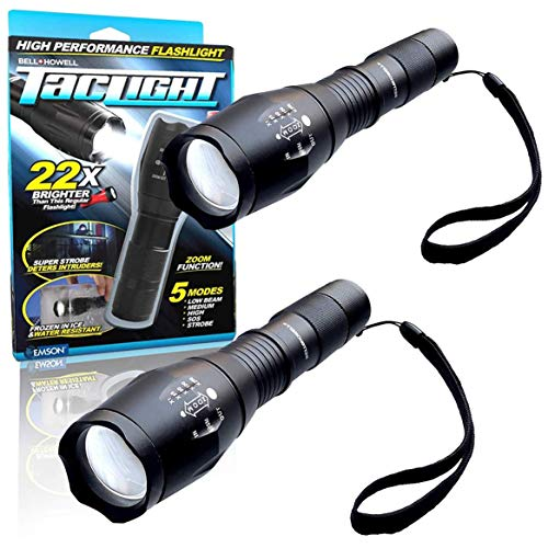 Bell + Howell 1176 Taclight High-Powered Tactical Flashlight with 5 Modes & Zoom Function (Original, Set of 2)