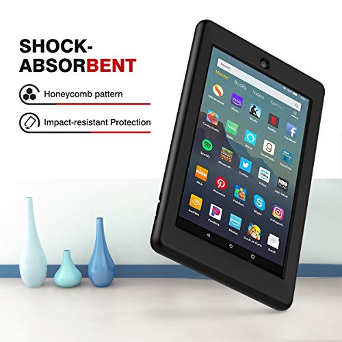 MoKo Case Fits All-New Amazon Fire 7 Tablet (9th Generation, 2019 Release), Flexible Soft Silicone Back Cover Impact-resistant Shell - Black