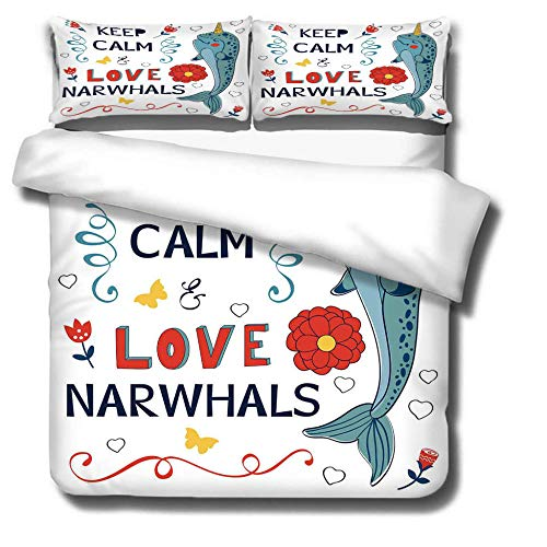 Duvet Cover Set 3 Piece,3D printing Duvet Set Bedding Set for 135 * 200cm Single Bed with 2 Pillowcases.Adult and child's style: Love narwhal