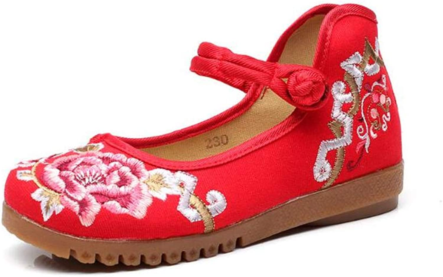 Gusha Women's Retro Embroidered Flat shoes Pumps Ballet shoes Loafers