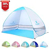 BATTOP Pop Up Beach Tent Camping Sun Shelter Outdoor Automatic Cabana 2-3 Person Fishing Anti UV Beach Tent Beach Shelter, Sets up in Seconds (Silver)