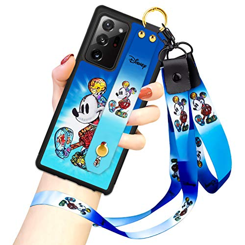 DISNEY COLLECTION Samsung Galaxy Note 20 Ultra 5G Case, Mickey Mouse Street Fashion Wrist Strap Phone Cover Full-Body Bumper Lanyard Case for Galaxy Note 20 Ultra 5G 6.9 Inch 2020