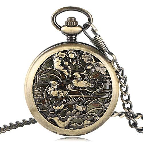 HBIN Reloj de Bolsillo mecánico de Cuerda Manual for Hombre de diseño Vintage con Cadena y Caja de Regalo