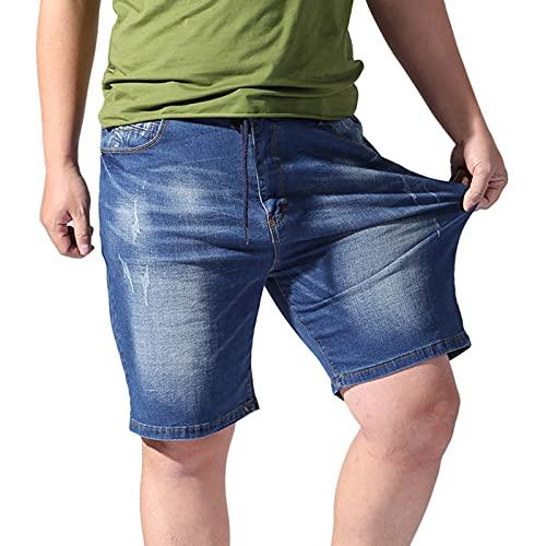 Herren Jeans Shorts Sommer Lässige Jeanshose mit elastischer Taille, Kordelzug und Taschen Plus Size Cargohose(XXL,Blau)
