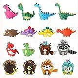 Samantha Jody Locke 32 Piezas Animal Cupcake Wrapper, Cupcake Topper Wrappers, Envoltorios para Cupcakes de Dinosaurio, para Safari En La Selva, Decoración para Fiestas De Cumpleaños para Niños