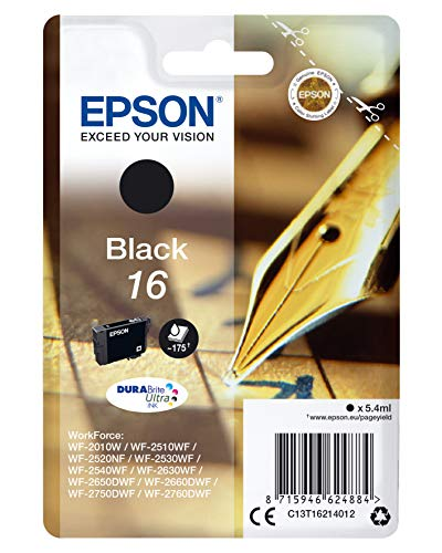 Epson 16 DURABrite Ultra Ink- Cartuccia d'Inchiostro, Nero (Black)