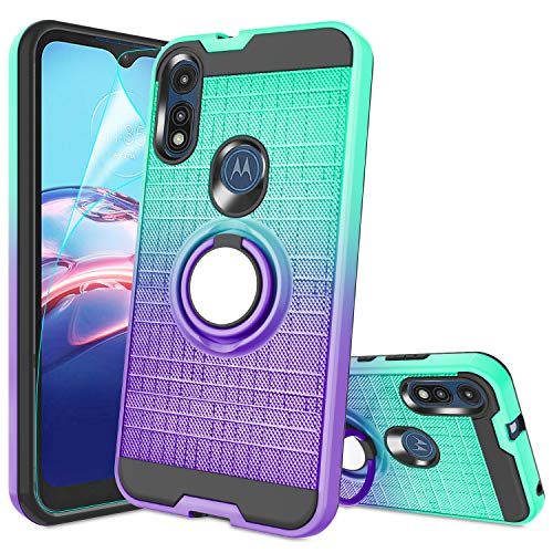 Moto E Case, Moto E 2020 Phone Case with HD Screen Protector,Atump 360 Degree Rotating Ring Holder & Kickstand Bracket Cover Phone Case for Motorola...