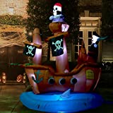 Haunted Hill Farm HIPIRSHIP101-L 10 ft Pirate Ship Halloween Blow Up Inflatable with Lights, Brown