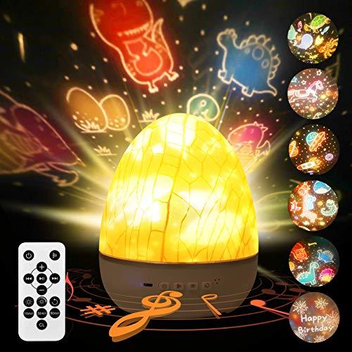 Sternenhimmel Projektor kinder, KNMY Eierschale Projektor LED Lampe Nachtlicht Kinderzimmer mit Musik Nachtlicht Rotierend, 6 Bild Bluetooth & Timer & Fernbedienung USB Schlafzimmer Dekoration