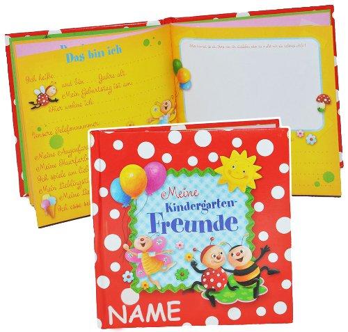 Marienkäfer -  Meine Freunde Buch - Kindergarten  - incl. Namen - gebunden Kindergartenfreunde Poesiealbum für Kind Kinder - Freundebuch Poesiealbum