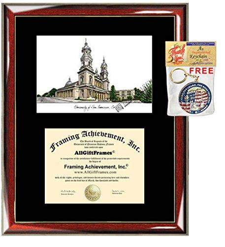 University of San Francisco Diploma Frame Lithograph USF Degree Certificate Framing Graduation Gift Graduate Black Matted Frames