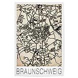 artboxONE Poster 30x20 cm Städte Retro Map Braunschweig