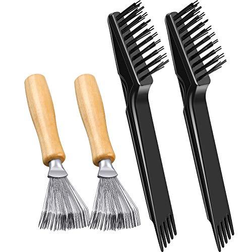 4 Stücke Kamm Reiniger Pinsel Mini Haarbürste Kamm Reinigungsbürste Reiniger Werkzeug Entfernen Kamm Eingebettetes Werkzeug zum Entfernen von Haarstaub Zuhause Salon Verwenden(Polierter Holzgriff)