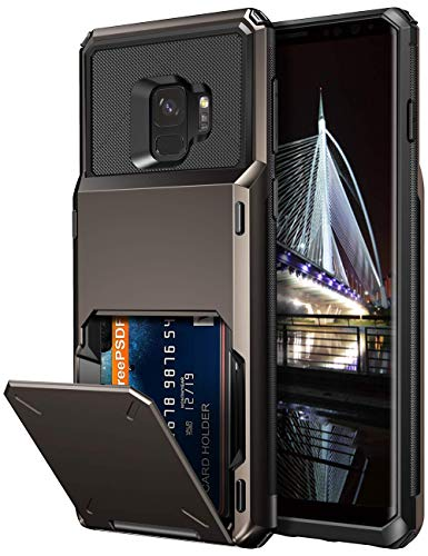 Vofolen Case for Galaxy S9 Case Wallet ID Slot Credit Card Holder Pocket Scratch Resistant Dual Layer Protective Bumper Rugged TPU Rubber Armor Hard Shell Case Cover for Samsung Galaxy S9 (Gun Color)