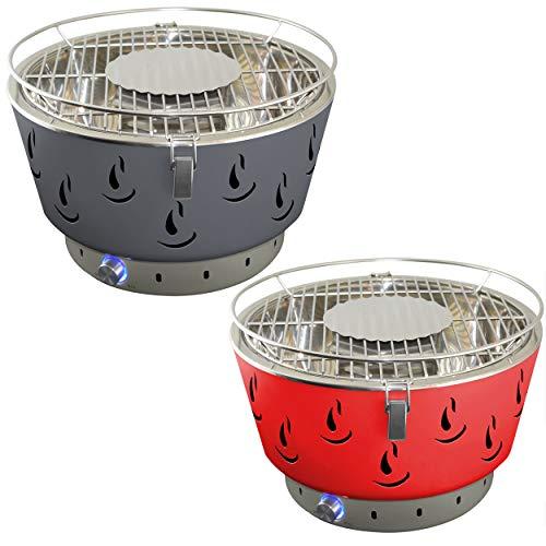ACTIVA Airbroil 2020 Tischgrill 2er Set ROT + GRAU Holzkohlegrill mit Aktivbelüftung inklusive Tragetasche Kleiner Grill Barbecue Tischgrill rund Holzkohlegrill für Balkon Batterie Belüftung