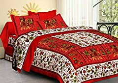 """Material: Cotton Size: 90""""x108"""" Double Bedsheet with 2 Pillow covers Colour: Bright , Eco Friendly and Glowing Colours. Beautifully handcrafted through jaipuri printing methods. Care Instructions: Get the product drycleaned for the first time to main..."""