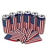 Jannyshop 6PCS USA Flag Dosenkühler Ärmel Bier Skinny 12 oz Neopren Coolies für Slim Red Dose und Flasche