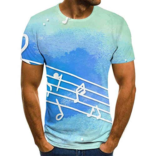 Short Sleeve Light Blue Stave Musical Note T-Shirt Male 3DT Shirt Short Sleeve Round Neck Digital Printing Casual Short Sleeve-Color_L