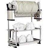 Liyanjin - Escurreplatos de cocina de acero inoxidable 304 de 3 niveles de acero inoxidable con bandeja extraíble, Acero inoxidable 304, 57×25×57.5cm