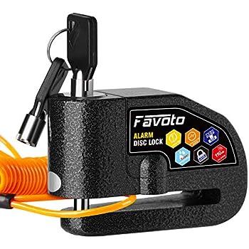 Favoto Antivol Moto Bloque Disque Bloc Disque avec Alarme de 110dB Disc Lock Scooter Vélo, 2 Clés/1 Clé en L/Piles de Rechange/Câble de Rappel 7mm Epaisseur Disque de Frein Cadenas VTT Noir