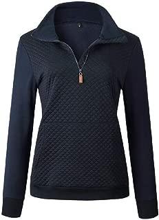 Macondoo Womens Quarter Zip Casual Pullover Stand Collar Long Sleeve Sweatshirts