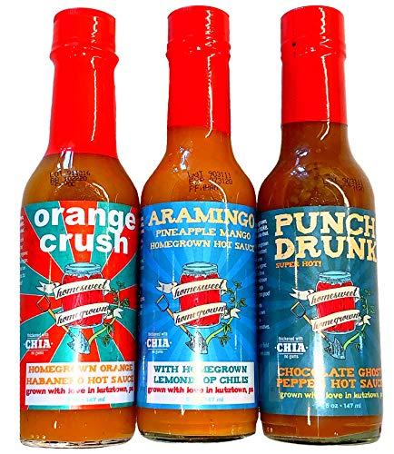 Gourmet Hot Sauce Variety Trio - All Natural Homesweet Homegrown - PUNCH DRUNK Ghost Pepper, ORANGE CRUSH Habanero, & ARAMINGO MANGO PINEAPPLE Habanero Flavors - 5 Ounces Each Flavor