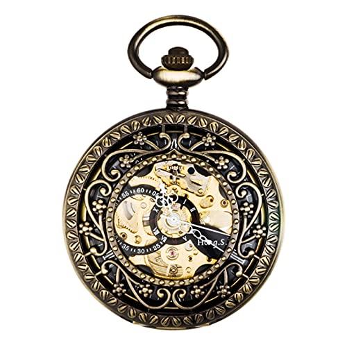 XGJJ Reloj de Bolsillo clásico con chainmens Regalos para Mujer. Aleación de Metal Números Romanos Romanos de Bolsillo mecánico Regalos, B