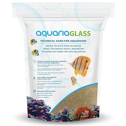 AquariaGlass Terracota Arena Técnica Fina para Acuarios y Peceras, Evita la Compactación y Aumenta la Higiene, Limpieza y Durabilidad del Agua de Acuario Color Tierra - Saco de 5kg