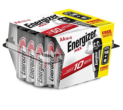 Energizer - Pack de 26 pilas alcalinas MAX LR6 AA, 50% más de rendimiento, Family Pack