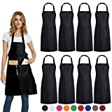DUSKCOVE 8 Pack Bib Aprons Bulk - Unisex Black Commercial Apron with 2 Pockets for Kitchen Crafting BBQ Drawing Cooking