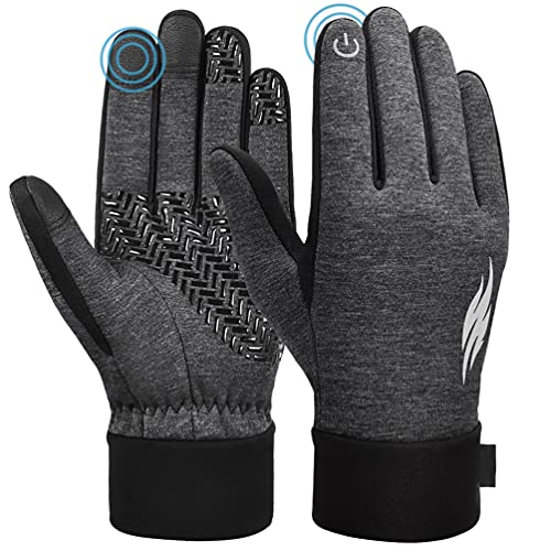 Mens Warm Winter Running Gloves - Womens Waterproof Lightweight Thermal Windproof Anti-Slip Cotton Woman Mittens for Sports Soccer Walking Best Present for Family Gray Size L