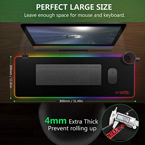 """RGB Mousepad, Large Extended Led Mousepad with 14 Lighting Modes, Non-Slip & Waterproof Rubber Base Computer Keyboard Pad Mat(31.5""""x11.8"""") Photo #3"""
