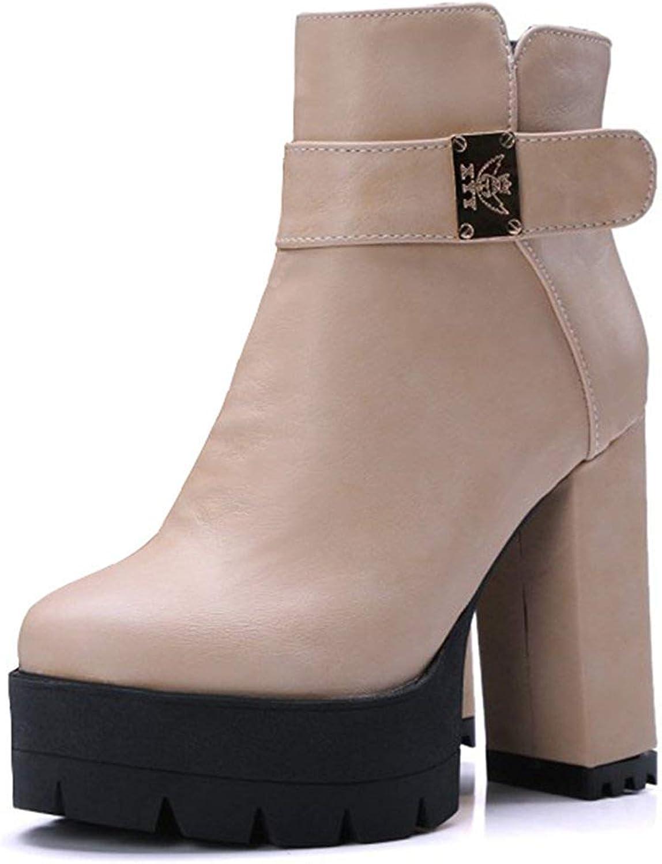 Lelehwhge Women's Trendy Strappy Plain Round Toe Side Zipper Short Boots Block High Heel Platform Ankle Booties Beige 4 M US