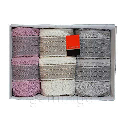 Pierre Cardin - Juego de toallas de baño 3 + 3 (3 caras y 3 invitados) modelo Carmen (gris/crema/rosa).
